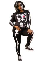Black Mid Print Skinny Pants  Jumpsuits & Rompers