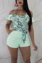 Green Fashion Sexy Print Patchwork bandage Ruffled Polyester Short Sleeve V Neck Jumpsuits
