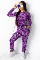 purple Polyester Fashion adult Casual Two Piece Suits Print contrast color Leopard Straight Long Sleeve