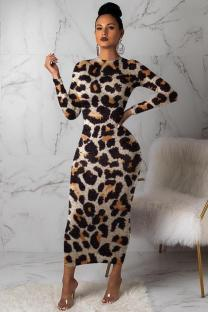 Leopard print Polyester adult Casual Fashion Cap Sleeve Long Sleeves O neck Step Skirt Mid-Calf Leopard Print