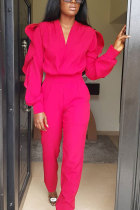 rose red Elastic Fly High ruffle Straight Pants
