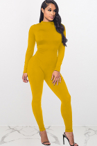 Yellow street Solid Polyester Long Sleeve Slip