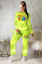 Green Polyester Active Print Straight Long Sleeve  Two-piece Pants Set