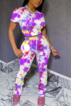 fuchsia Cotton Fashion Casual Patchwork Print Tie Dye Two Piece Suits pencil Short Sleeve Two Pieces