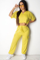 Yellow Polyester Fashion Sexy Patchwork Solid Straight  Two-piece Pants Set