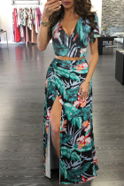 Green Fashion adult Sexy Patchwork Print Two Piece Suits Split Floral bow-knot Hip skirt Short S
