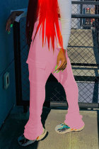 Pink Black Green Pink Orange Yellow Fluorescent green Polyester Drawstring Sleeveless Mid Patchwork Solid Pocket Draped Boot Cut Pants Bottoms