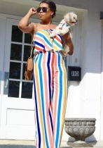 White Polyester Striped Fashion Jumpsuits & Rompers