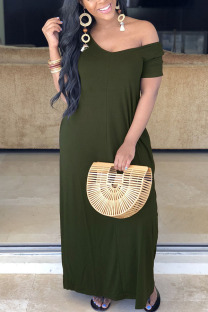 Green Polyester Fashion Casual Red Grey Blue Green Cap Sleeve Short Sleeves V Neck Swagger Floor-Length Solid Dresses