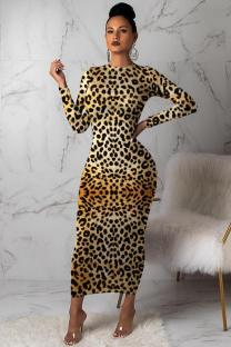 Yellow Polyester adult Casual Fashion Cap Sleeve Long Sleeves O neck Step Skirt Mid-Calf Leopard Print