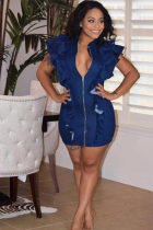 Navy Blue Polyester adult Fashion Sexy Ruffled Sleeve Sleeveless V Neck Asymmetrical skirt chain ruffle Solid