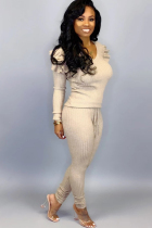 Cream white venetian Casual ruffle Two Piece Suits Solid pencil Long Sleeve  Two-piece Pants Set