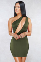 Army Green Fashion Sexy Off The Shoulder Sleeveless one shoulder collar Slim Dress skirt hollow out ruffle back