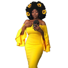 Yellow Vintage Off The Shoulder 3/4 Length Sleeves One word collar Knee-Length