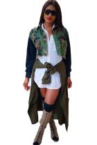 Camouflage Turndown Collar Patchwork Camouflage Polyester Print  Blazer & Suits &Jacket
