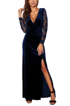 Navy Blue Sexy Long Sleeves V Neck A-Line Floor-Length split Patchwork hollow out lace