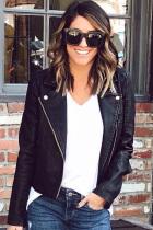 Black Mandarin Collar Zippered Solid Patchwork PU Pure Long Sleeve  Blazer & Suits &Jacket