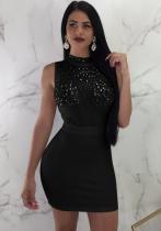 Black B Maroon Brief Cute Stand Sleeveless Step skirt skirt Club Dresses