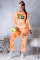 Orange Polyester Active Print Straight Long Sleeve  Two-piece Pants Set