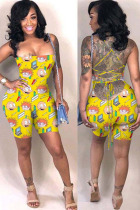 Yellow Fashion Sexy Print Backless Polyester Sleeveless Wrapped Jumpsuits