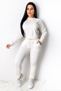 White Polyester Casual Fashion adult Bandage Two Piece Suits Solid Straight Long Sleeve  Two-piece Pants S