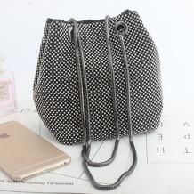 Black Fashion Casual Rhinestone Bucket Bags