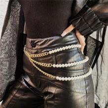 Gold Fashion Multilayer Imitation Pearl Tassel Chain Waist Chain
