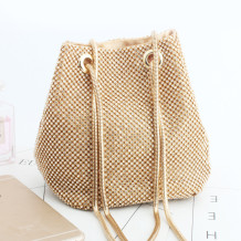 Gold Fashion Casual Rhinestone Bucket Bags