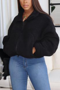 Black Casual Print Turndown Collar Outerwear
