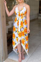 White Yellow Fashion Sexy Print Backless Halter Sleeveless Dress