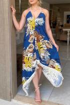 Blue Fashion Sexy Print Backless Halter Sleeveless Dress