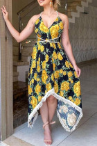 Black Yellow Fashion Sexy Print Backless Halter Sleeveless Dress