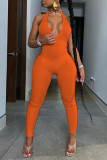 Black Sexy Sportswear Solid Backless Halter Skinny Jumpsuits