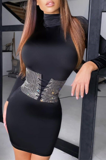 Black Sexy Street Patchwork Belts Accessories