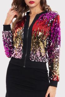 Colour Fashion Casual Patchwork Sequins Zipper Collar Outerwear