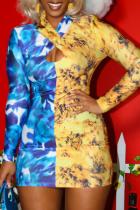 Blue Yellow Casual Print Hollowed Out Split Joint Mandarin Collar Pencil Skirt Dresses
