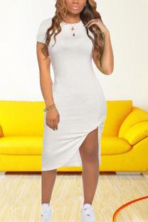 White Casual Solid Split Joint O Neck Irregular Dress Dresses