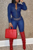 Blue Sexy Fashion Solid Pocket Long Sleeve Jumpsuits