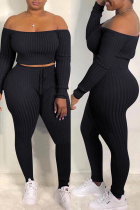 Black Fashion Casual Solid Backless Off the Shoulder Long Sleeve Two Pieces