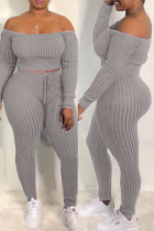 Grey Fashion Casual Solid Backless Off the Shoulder Long Sleeve Two Pieces