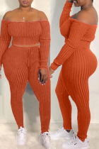 Orange Fashion Casual Solid Backless Off the Shoulder Long Sleeve Two Pieces