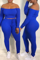 Blue Fashion Casual Solid Backless Off the Shoulder Long Sleeve Two Pieces
