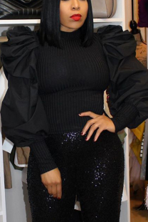 Black Temperament Fashion Stitching Puff Sleeve Tops