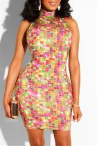Orange Fashion Sexy Print Hot Drill Turtleneck Sleeveless Dress