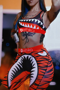 Orange Fashion Casual Print Vests O Neck Sleeveless Two Pieces