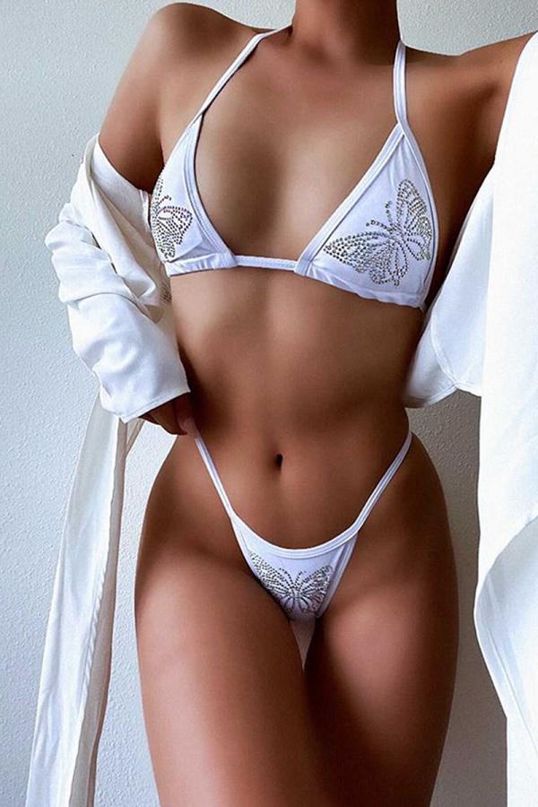 White Sexy Print Sequins Split Joint Swimwears