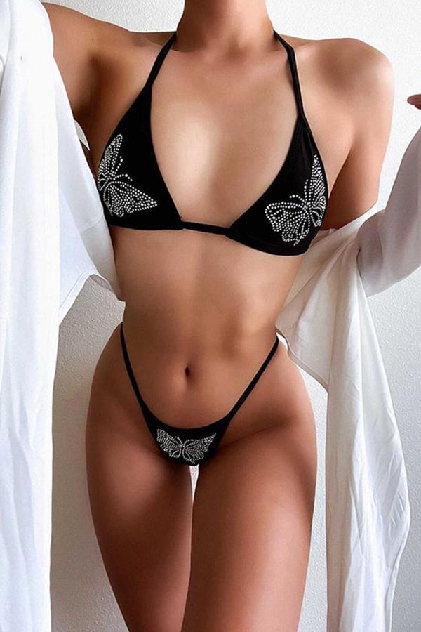 Black Sexy Print Sequins Split Joint Swimwears