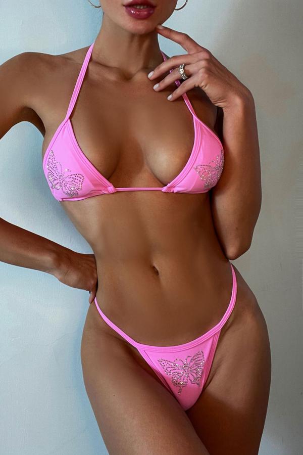Pink Sexy Print Sequins Split Joint Swimwears
