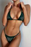 Ink Green Sexy Print Sequins Split Joint Swimwears