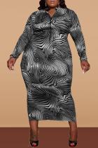 White Casual Print Split Joint Zipper Collar Pencil Skirt Dresses